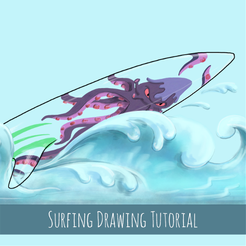 how to draw surfing step by step