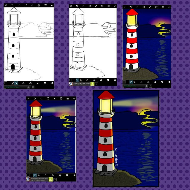 how to draw a lighthouse step by step
